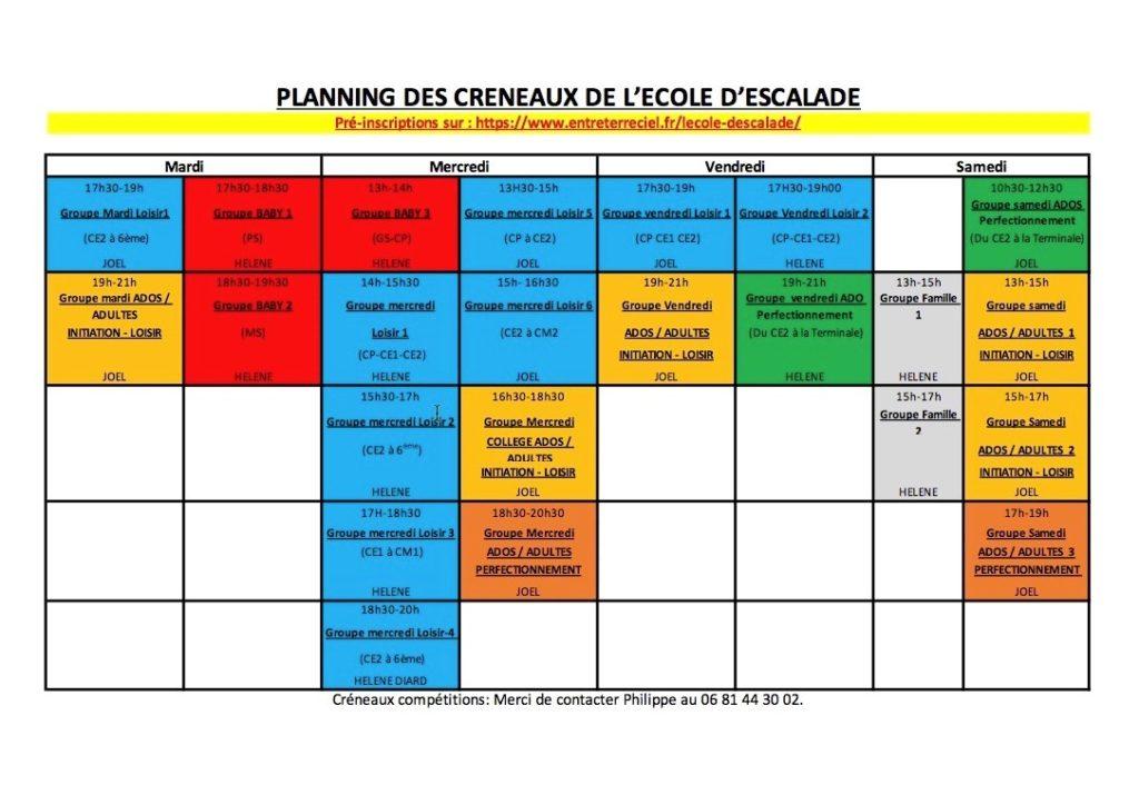 Planning prévisionnel Ecole Escalade ETC 2022